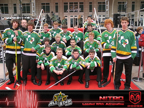 When I think of a hockey team called the Dragons, i think of a team that looks like this. Including Ronald Weasley taking some time off his Quidditch team to play hockey (second from the right).