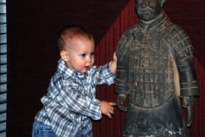 An ancient Ming Dynasty warrior statue located at any and every PF Changs.